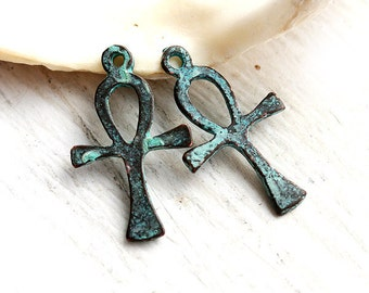 Ankh charms, Egyptian symbol of Life, Cross with loop, Green patina on copper, Lead Free - 2Pc - F150
