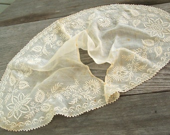 Antique Collar Pre-1850, Ayrshire thistle embroidery, sheer muslin, large size, historic collectible textile