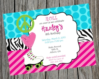 Printable Roller Skating Party Invitation Peace Love