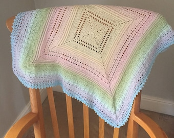 Beautiful hand crochet baby shawl/blanket