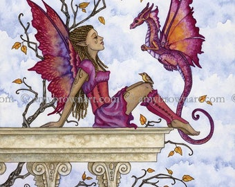 8X10 The Visit II dragon and fairy PRINT by Amy Brown