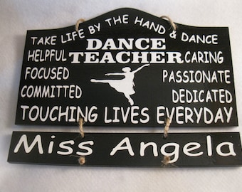Personalized Wooden Dance Ballet Teacher Painted Wooden Sign