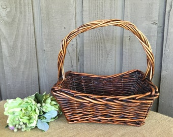 Rustic vintage basket/ rustic woven basket/ wedding baskets/woodland baskets/ wedding favors basket/ confetti cones basket/ programs basket
