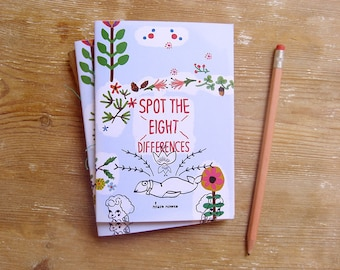 Spot the difference game book. Printed Activities Zine. Match Pictures & Find out the 8 differences