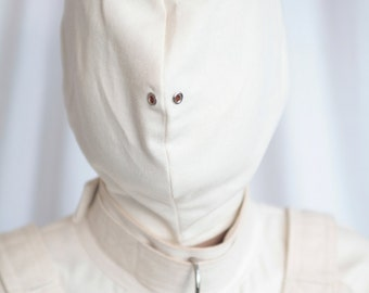 White Bondage Straitjacket Hood / Mask / Blindfold