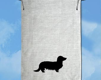 Long Haired Dachshund Dog Silhouette Hand Screen Printed Pure Linen Tea Towel Free Shipping Australia Wide