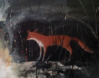 "The Fire Fox, Giclee print 7"" x 5"""