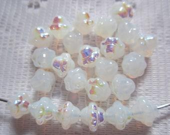 25  Milk White Opal AB Saturn Lantern Czech Glass Beads  8mm