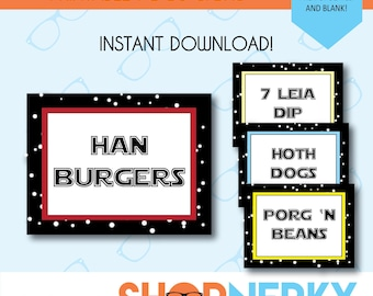 Star Wars Inspired Punny Food Signs  |  Pre-Populated and Blank