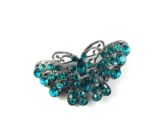 Butterfly brooch, turquoise butterfly brooch, butterfly pin, recycled brooch, vintage brooch, rhinestone brooch, insect brooch.