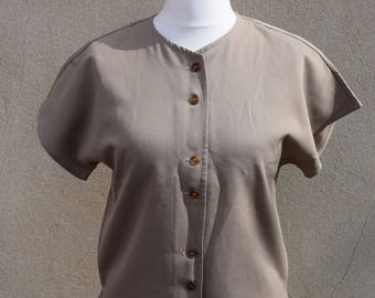SALE Vintage Wetherall brown blouse, 1970s