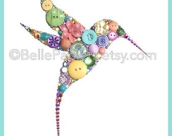 Oiseau de Colibri Art mural bouton Art oiseau bouton oiseau Swarovski Crystal Art Colibri décorations coloré oiseau bouton photo swarovski