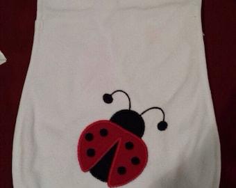 Lady Bug Applique personalized burp cloth