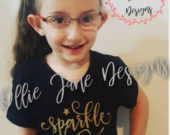 """Girl's BLACK  """"Sparkle"""" shirt size 4T to youth 14-16 Gold glitter"""