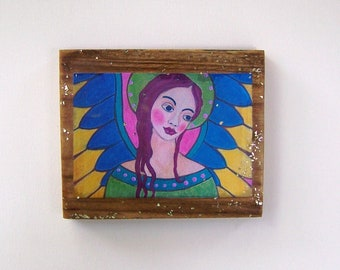 "Folk Art Angel Encaustic Woodblock Print 5 1/2"" x 6 1/2"""