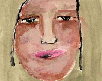 She Struggles  - original painting on paper no 102 big headed girl blue art