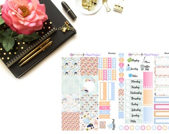 Tea Party Kit// MINI HP Weekly Kit// 2 sheets of planner stickers