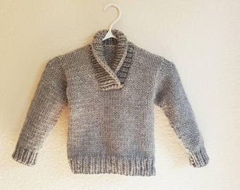 Hand Knit Wool Blend Children's Sweater with Ribbed Folding Collar/Knit Children's Jumper/Knit Children's Pullover/Children's Knits/Birthday