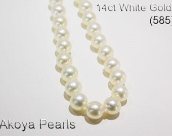 14ct 585 White Gold Akoya Pearl String Strand Necklace Jewellery Genuine NEW  - HJ101
