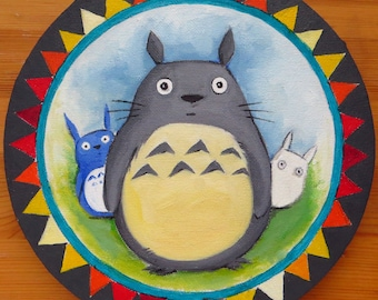 Totoro, My Neighbor Totoro, Oil on Canvas, Round Canvas, Oil Painting, Hand Painted, Anime Art, Totoro and Friends, MikiMayo