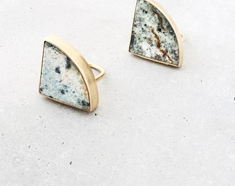 Marble Radius Ring / geometric statement ring / moss green stone / large gold cocktail ring / metalwork jewelry