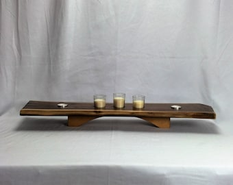 Live Edge Black Walnut Candle Holder Centerpiece with Cherry base
