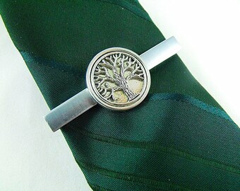 Tie Bar Tie Clip, Silver Celtic Tree of Life Framed  Mens Accessory Wedding Groomsmen Gifts