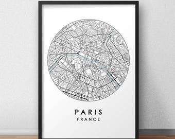 Paris City Print, Street Map Art, Paris Map Poster, Paris Map Print, City Map Wall Art, Paris Map, Travel Poster, France