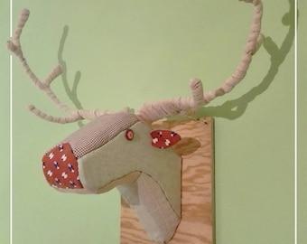 Deer Head Patchwork faux taxidermy cloth reindeer trophy