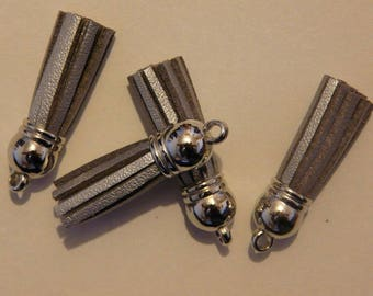 tassel silver 38mm silver suedine