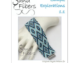 Peyote Pattern - Simple Explorations 1.1 Peyote Cuff / Bracelet  - A Sand Fibers For Personal and Commercial Use PDF Pattern