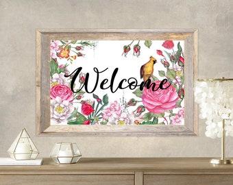 PDF Printable Art - Floral Welcome 6