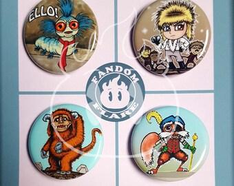 Labyrinth inspired pinback button badge Jareth David Bowie Ludo Worm Sir Didymus