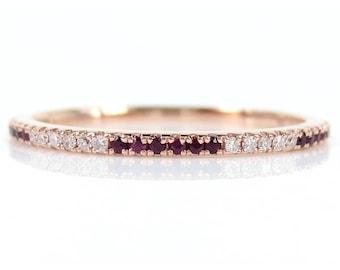 Zebra Diamond & Ruby Eternity Band- Stacking - Wedding Bands - 18K Gold