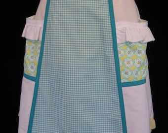 Half Apron in bright yellow white and teal with POCKETS