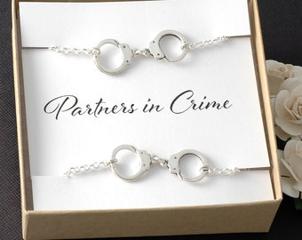 Partners in Crime - Handcuff bracelet - Set of two - BFF Best Friends - Sisters - Couple