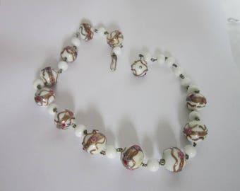 Beautiful Antique Venetian Art Glass Wedding Cake Beaded Necklace