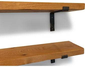 Industrial Chunky Solid Oak Vintage Style Shelf - Metal Brackets Included
