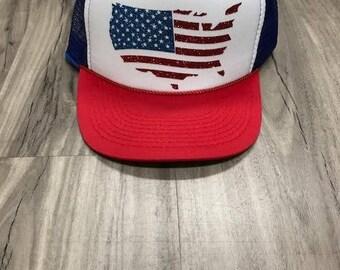 United States Glitter Trucker Hat Patriotic Hats Fourth Of July Hat Memorial Day Glitter Merica Womens Trucker Hats