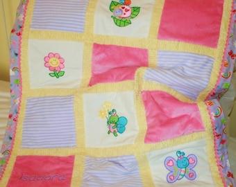"""Appliqued Minky Baby Blanket  """"Cute,Cute Bugs"""""""