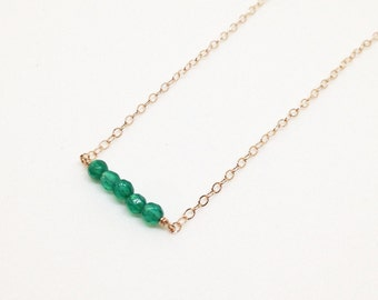 Elements Green Onyx Rose Gold Filled Necklace - 18 inch - Quick Ship