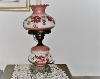 Hand Painted Hurrican Lamp, Pink Floral Lamp, GWTW Hurrican Lamp, Vintage Table Lamp