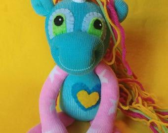 "Asteria - 10"" Sock Unicorn Plush - Handmade Plush Doll"