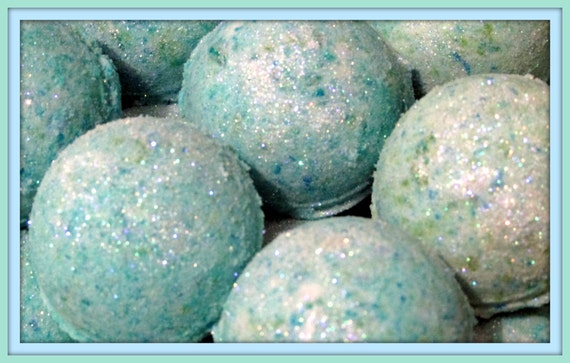 2 Mermaid Kisses Bath Bomb Fizzies (Handmade, luxurious, Individually packaged and labeled)