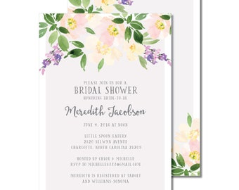 Bridal Shower Invitation | Watercolor Flowers Shower Invite | Script Floral Bridal Shower Invite | DIY Option Available | Invitation | #500