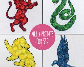 All 4 Hogwarts Houses Prints for 12 - Floral Pop 4x6 Prints Hand Embroidery Needlework Harry Potter Fan Art