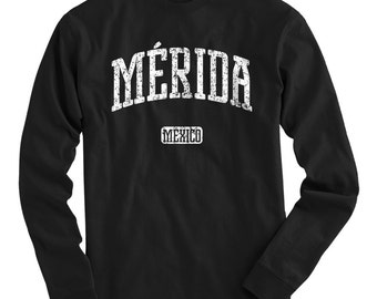 LS Merida Mexico Tee - Long Sleeve T-shirt - Men S M L XL 2x 3x 4x - Gift, Merida Shirt, Yucatan Shirt, Yucateco, Mayan, The White City, MID