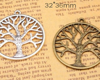 Wholesale 50pcs 33mm Antique Silver tone/Antque Bronze Lucky Tree of Life Connector Charms Findings