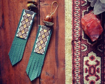 Ethnic recycled leather Earrings Amber Stones Hippie Tribal Gipsy Bohemian Native