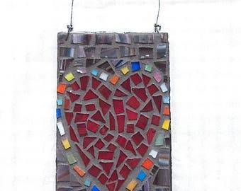 Heart, Original Art, Red Heart, Mosaic, Love, Wedding, Gift, Shower, Home Decor, Hand Made